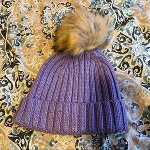 J Crew Faux Fur Cable Knit PomPom Hat purple NWT